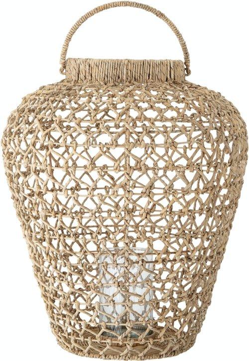 På billedet ser du variationen Kyra, Lanterne m/Glas, Natur, Vandhyacint fra brandet Creative Collection i en størrelse D: 56 cm. H: 66 cm. i farven Natur