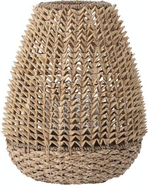 På billedet ser du variationen Egmunt, Lanterne m/Glas, Natur, Palm leaf fra brandet Bloomingville i en størrelse D: 33 cm. H: 42 cm. i farven Natur