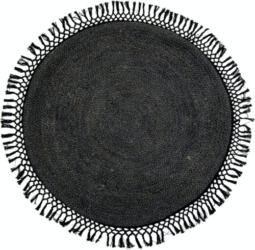 På billedet ser du variationen Idakamille, Tæppe, Sort, Jute fra brandet Bloomingville i en størrelse D: 122 cm. i farven Sort