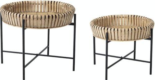 På billedet ser du variationen Johs, Sidebord, Natur, Bambus (Sæt á 2 stk.) fra brandet Creative Collection i en størrelse D: 61 cm. H: 52 cm. i farven Natur