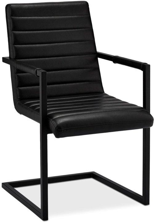 På billedet ser du Prior, Spisebordsstol med armlæn, PU-læder fra brandet Raymond & Hallmark i en størrelse H: 93 cm. B: 53 cm. i farven Sort