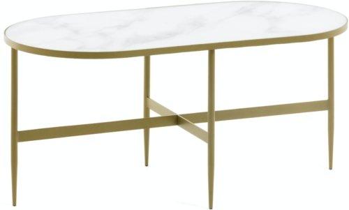 På billedet ser du variationen Elisenda, Kaffebord fra brandet LaForma i en størrelse H: 45 cm. B: 100 cm. L: 50 cm. i farven Hvid Guld