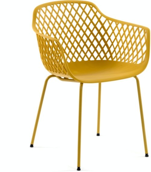 På billedet ser du variationen Quinn, Spisebordsstol fra brandet LaForma i en størrelse H: 80 cm. B: 60 cm. L: 55 cm. i farven Sennep