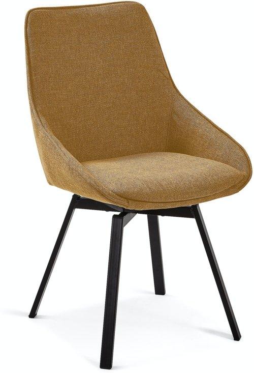 På billedet ser du variationen Jenna, Spisebordsstol fra brandet LaForma i en størrelse H: 86 cm. B: 50 cm. L: 59 cm. i farven Sennep/Sort