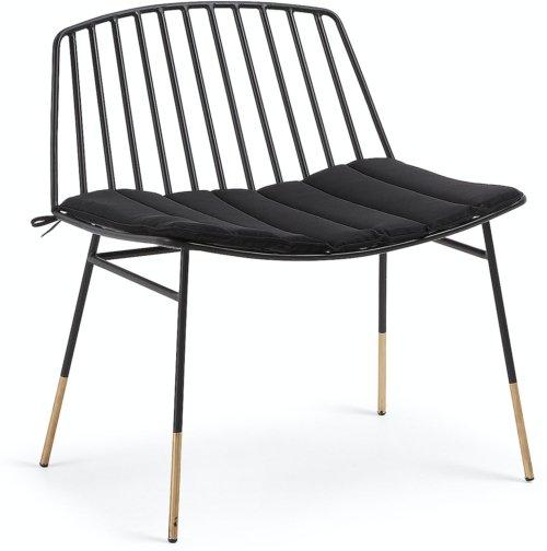 På billedet ser du variationen Lulu, Udendørs lænestol fra brandet LaForma i en størrelse H: 74 cm. B: 66 cm. L: 48 cm. i farven Sort/Guld