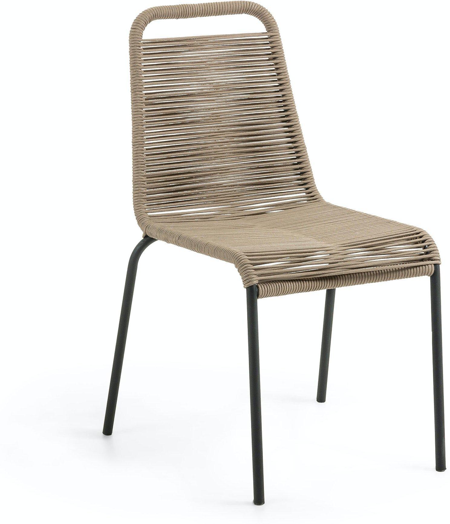 Lambton, Udendørs spisebordsstol by LaForma (H: 84 cm. B: 49 cm. L: 59 cm., Brun/Sort)
