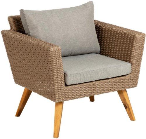 På billedet ser du variationen Sumie, Udendørs lænestol fra brandet LaForma i en størrelse H: 72 cm. B: 80 cm. L: 68 cm. i farven Natur/Grå