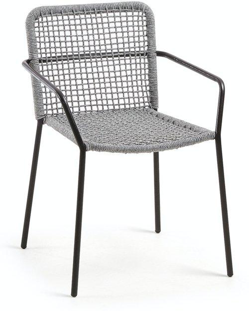 På billedet ser du variationen Ellen, Udendørs spisebordsstol fra brandet LaForma i en størrelse H: 80 cm. B: 56 cm. L: 60 cm. i farven Grå/Sort