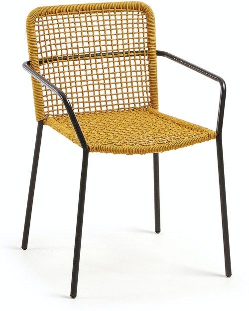 På billedet ser du variationen Ellen, Udendørs spisebordsstol fra brandet LaForma i en størrelse H: 80 cm. B: 56 cm. L: 60 cm. i farven Sennep/Sort
