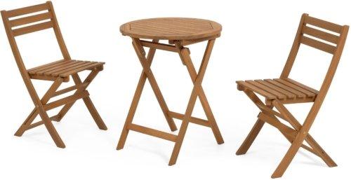 På billedet ser du variationen Elisia, Cafesæt m. bord og 2 stole fra brandet LaForma i en størrelse H: 82 cm. B: 60 cm. L: 60 cm. i farven Natur