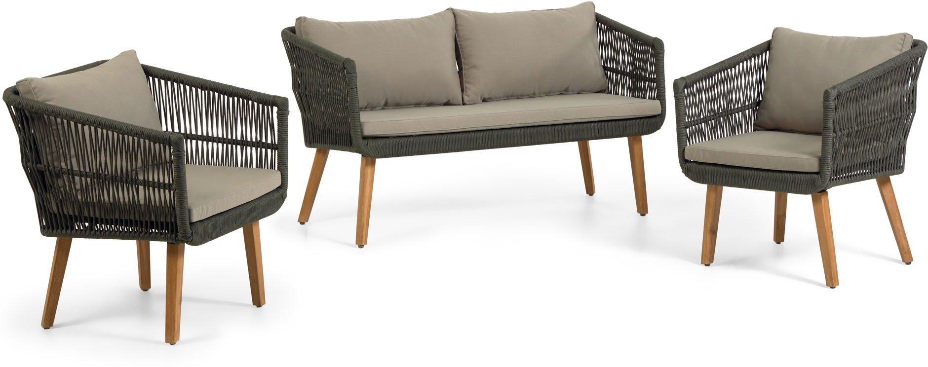 Køb Inti, Udendørs sofasæt by LaForma (H: 75 cm. B: 130 cm. L: 67 cm., Grøn)