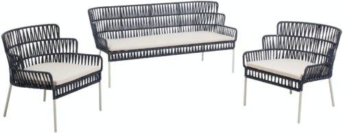 På billedet ser du variationen Robyn, Udendørs sofasæt fra brandet LaForma i en størrelse H: 75 cm. B: 160 cm. L: 70 cm. i farven Blå/Hvid