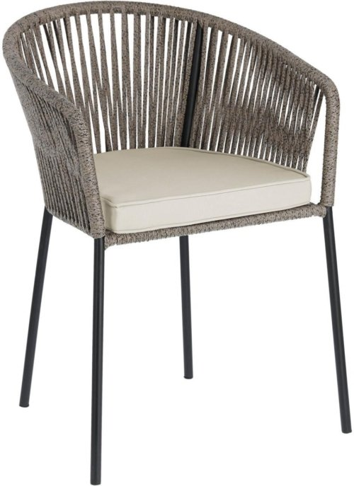 På billedet ser du variationen Yanet, Udendørs spisebordsstol fra brandet LaForma i en størrelse H: 79 cm. B: 56 cm. L: 50 cm. i farven Grå/Beige