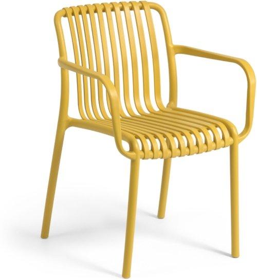 På billedet ser du variationen Isabellini, Udendørs spisebordsstol fra brandet LaForma i en størrelse H: 80 cm. B: 54 cm. L: 49 cm. i farven Sennep