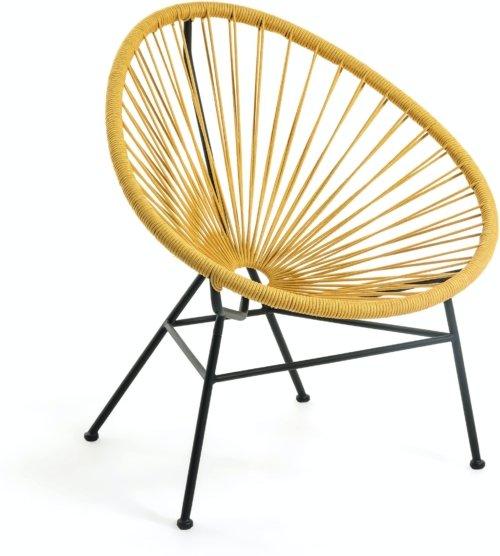 På billedet ser du variationen Samantha, Udendørs lænestol fra brandet LaForma i en størrelse H: 84 cm. B: 72 cm. L: 75 cm. i farven Sennep/Sort