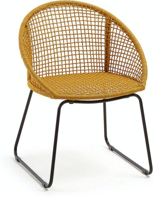 På billedet ser du variationen Sania, Udendørs spisebordsstol fra brandet LaForma i en størrelse H: 85 cm. B: 66 cm. L: 58 cm. i farven Sennep/Sort