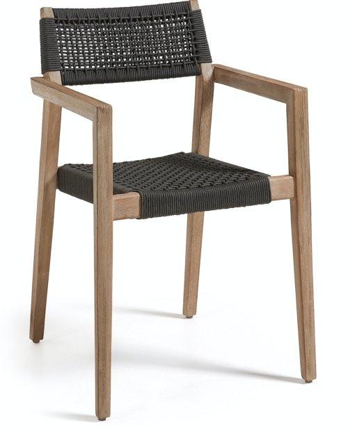 På billedet ser du variationen Vetter, Udendørs spisebordsstol fra brandet LaForma i en størrelse H: 82 cm. B: 57 cm. L: 54 cm. i farven Sort/Natur