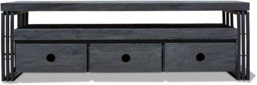 På billedet ser du Tv-bord HayFay-Rail, Model R5, Understel fra brandet OBUZI i en størrelse H: 50 cm. B: 40 cm. L: 155 cm. i farven Mat Sort