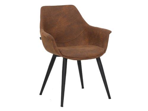 På billedet ser du Signe, Spisebordsstol med armlæn, Ruskind fra brandet House of Sander i en størrelse H: 82 cm. B: 68 cm. L: 62 cm. i farven Brun